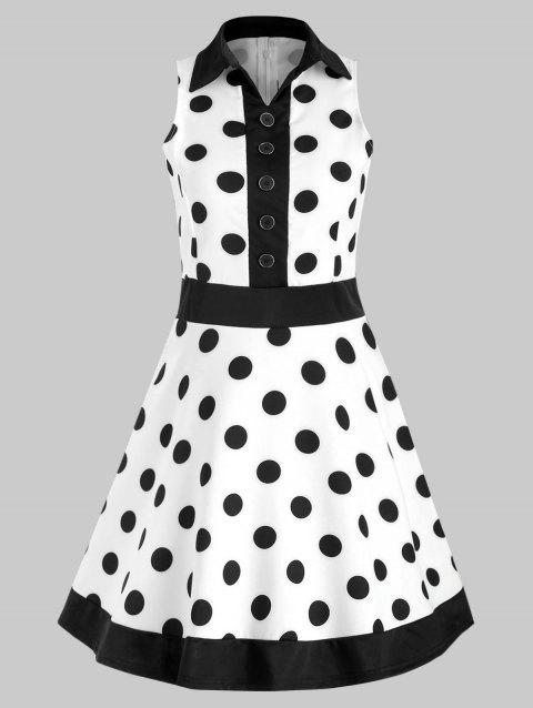 Button Polka Dot Print Vintage Dress - WHITE 2XL