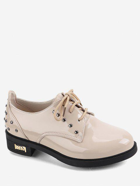 Patent Leather Studded Lacing Shoes - BEIGE EU 37