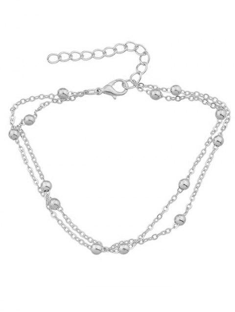 Double Layered Tiny Beads Anklet - SILVER