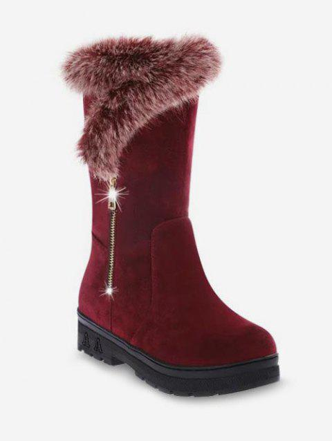 Faux Fur Trim Mid Calf Boots - RED WINE EU 39
