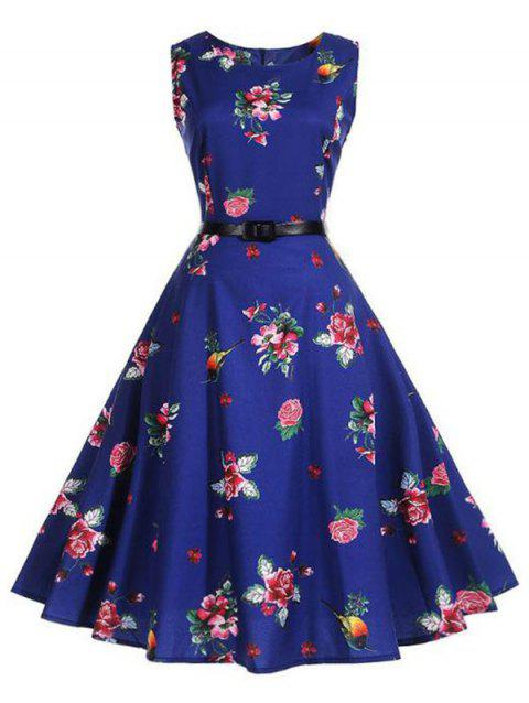 Floral Birds Print Belted Flare Dress - multicolor A 2XL