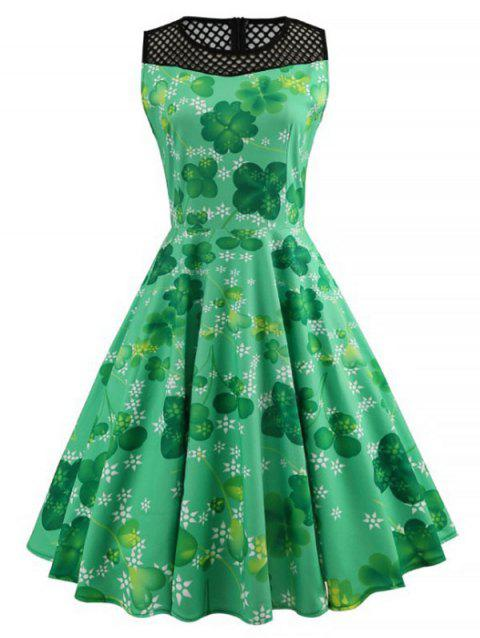 Mesh Panel Leaves Print A Line Dress - GREEN L