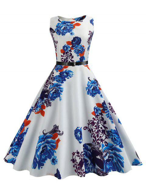 Belted Flower Sleeveless A Line Dress - multicolor A 2XL