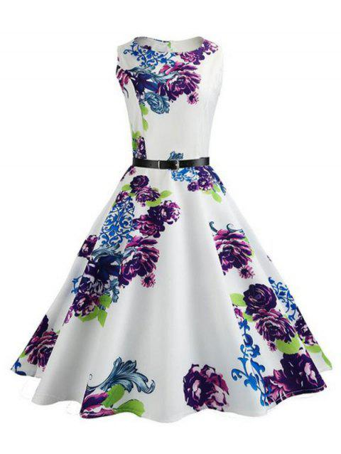Belted Flower Sleeveless A Line Dress - multicolor B 2XL