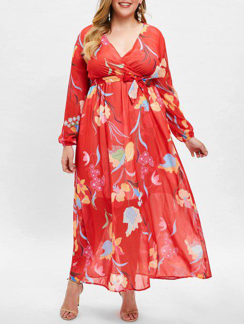 Printed Floor Length Plus Size A Line Dress - RED 3X