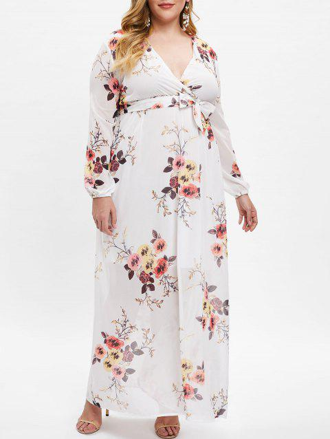 Floral Print High Waist Plus Size Belted Dress - WHITE L