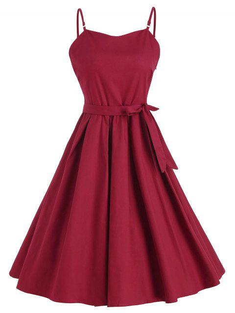 Spaghetti Strap Belted Vintage Dress - RED WINE M