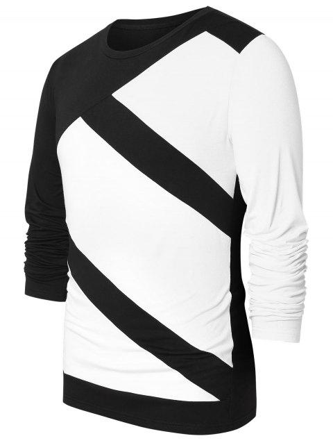 Long Sleeve Two Tone Casual Top - WHITE L