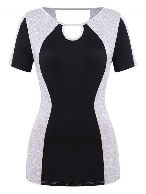 Plus Size Cut Out Color Block T Shirt - multicolor A 3X