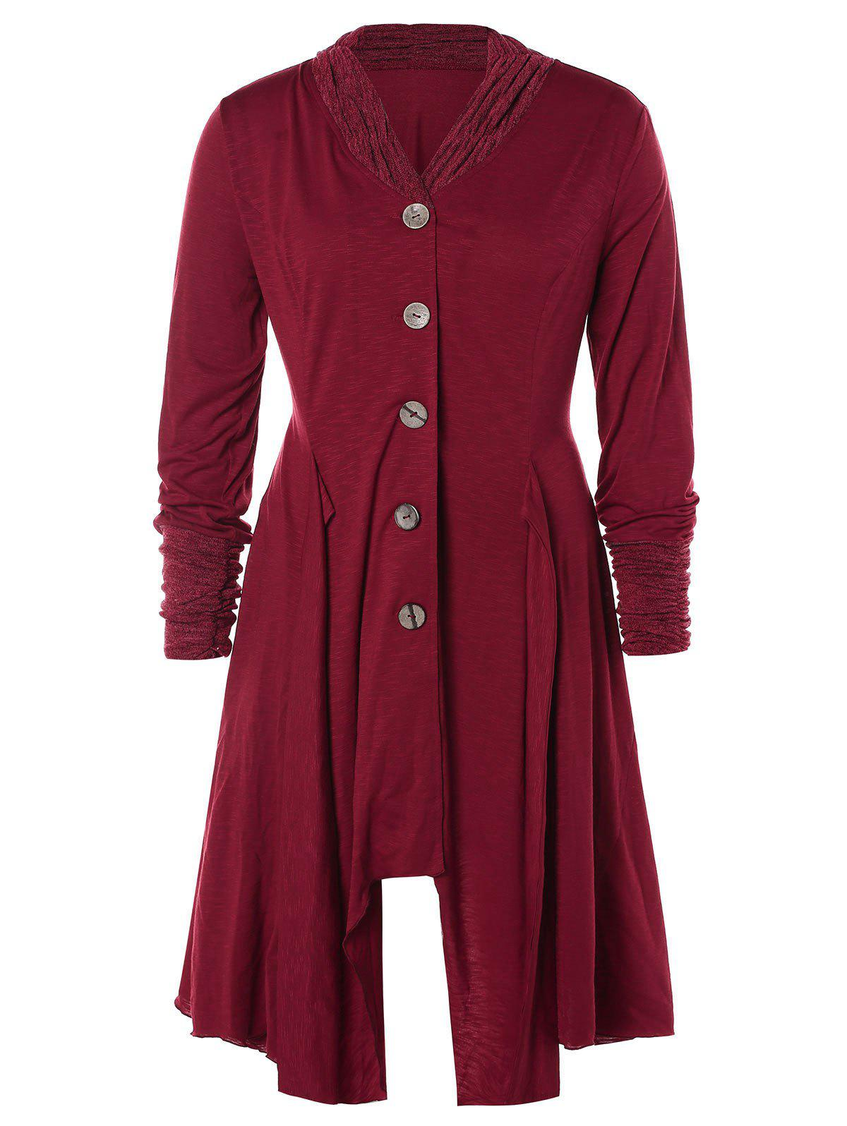 Plus Size Contrast Trim Button Up Asymmetrical Coat - FIREBRICK 2X