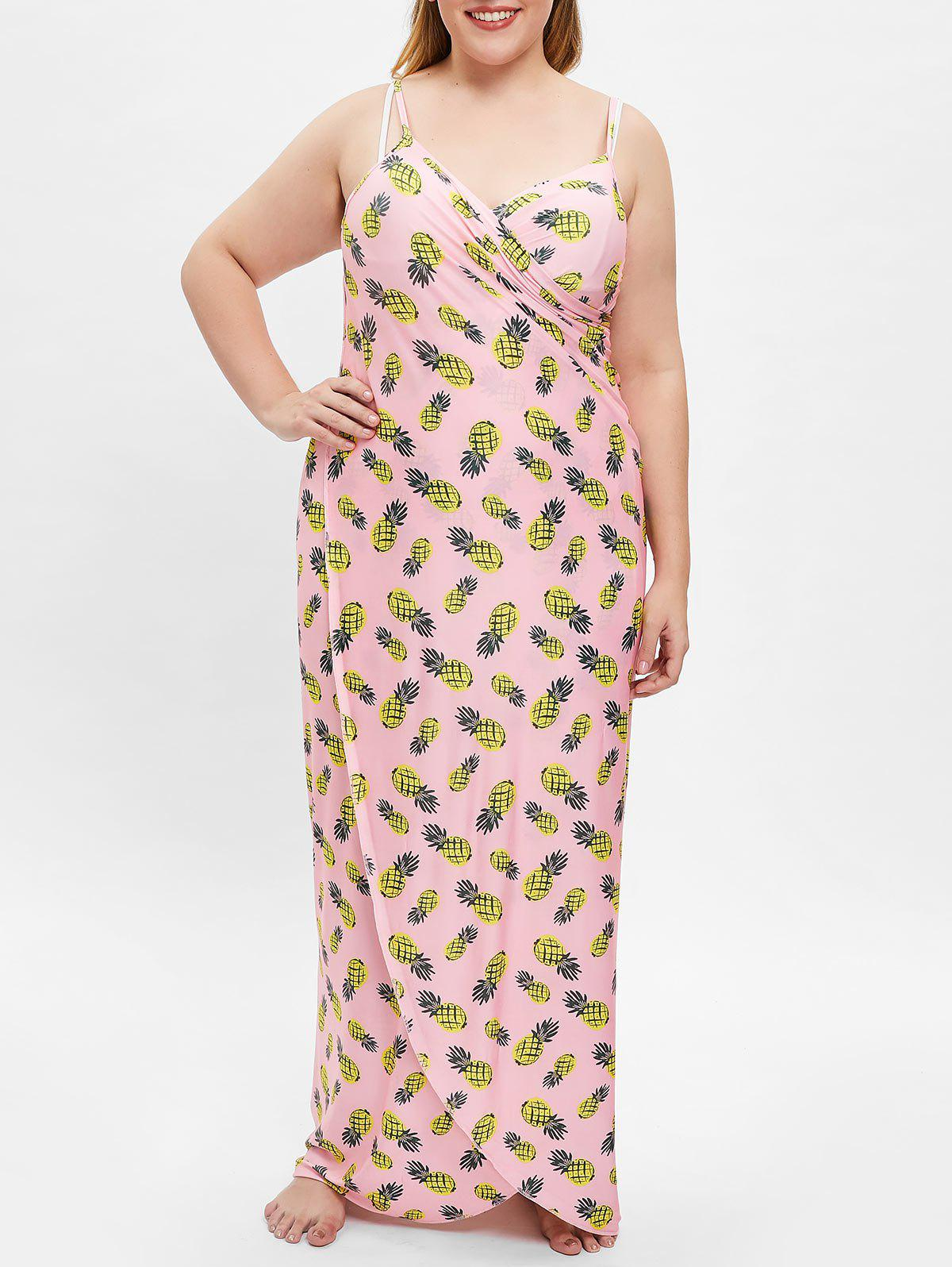 Beach Plus Size Pineapple Print Cover Up Dress - ROSE L