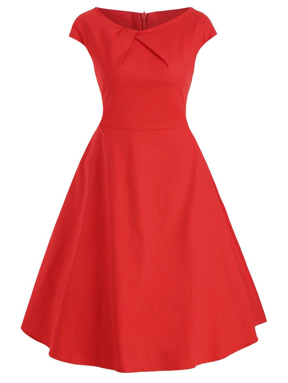 Sleeveless Vintage A-line Dress - RED S