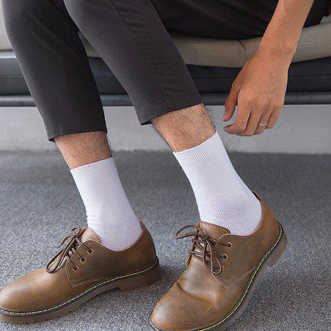 High-end Business Socks Solid Color Waist Cotton Socks Combed Cotton Men Tube Large Size Tube Socks - WHITE 5 DOUBLE GIFT BOX