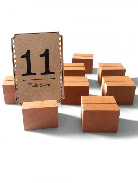 10 Pcs Wooden Table Number Holders - BEE YELLOW