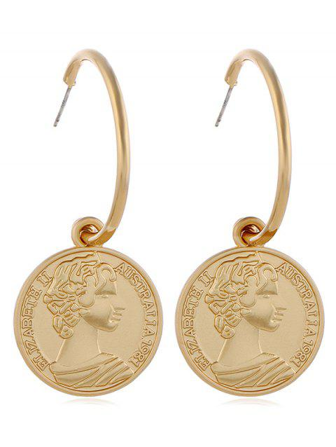 Metal Retro Coin Head Pattern Dangle Earrings - GOLD