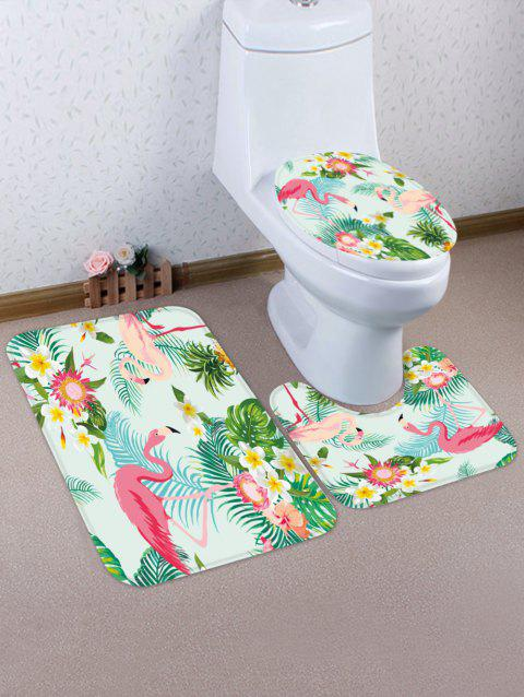Tropical Plant Flamingo Pattern 3 Pcs Toilet Mat Set - multicolor