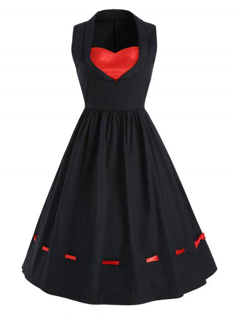 Vintage A Line Contrast Dress - BLACK M