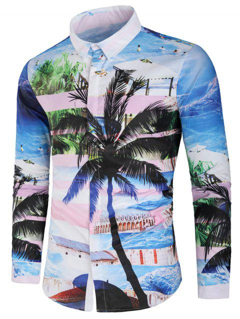 Sea Beach Scenery Coconut Palm Print Casual Shirt - multicolor M