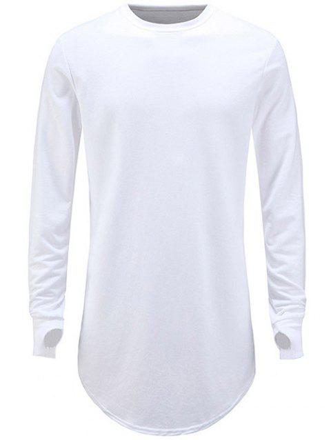 Thumb Hole Solid Color Long Shirt - WHITE 2XL