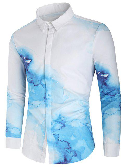 Ink Painting Print Button Up Shirt - multicolor XL