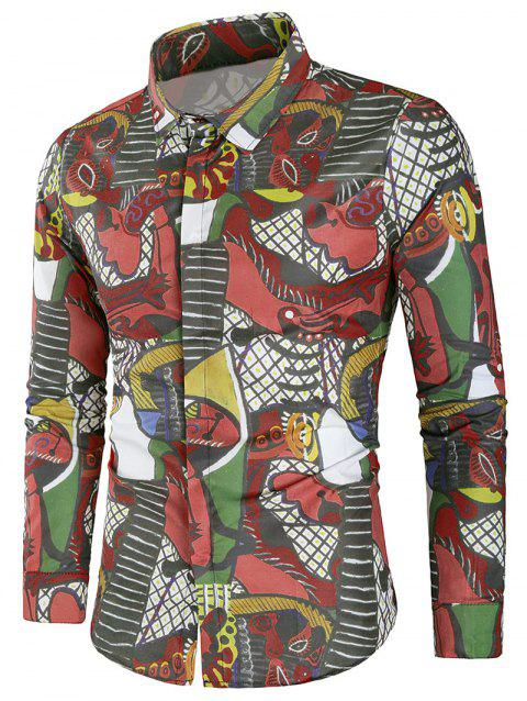 Long Sleeves Cover Button Graphic Shirt - multicolor L