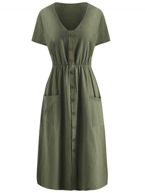 Button Long Sleeve Flare Dress - CAMOUFLAGE GREEN M