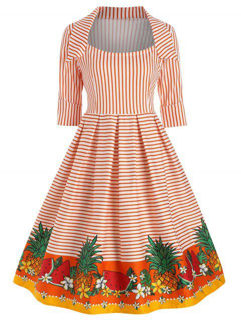 Cuffed Sleeves Striped Fruit Vintage Dress - ORANGE L