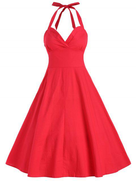 Halter Vintage A Line Dress - RED M