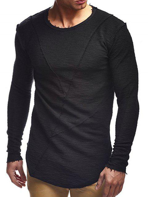 Solid Color Patchwork Long Sleeves Shirt - BLACK S