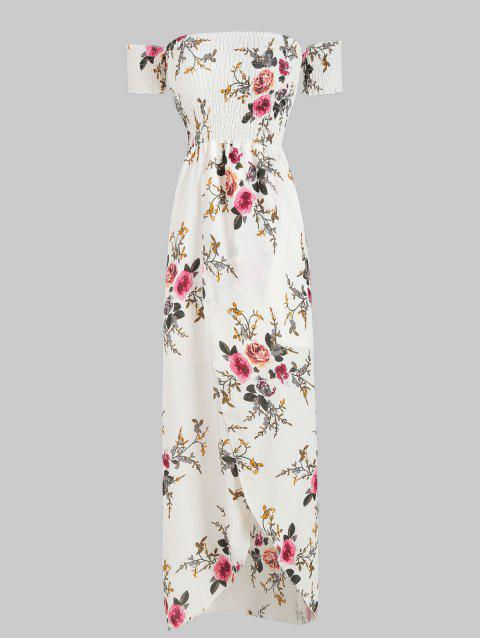 Overlap Floral Print Short Sleeve Dress - WHITE XL