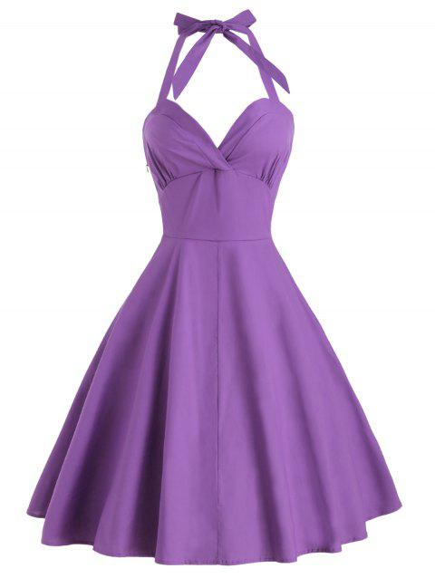 Halter Vintage A Line Dress - PURPLE XL
