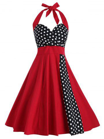 Vintage Polka Dot Print Halter Dress