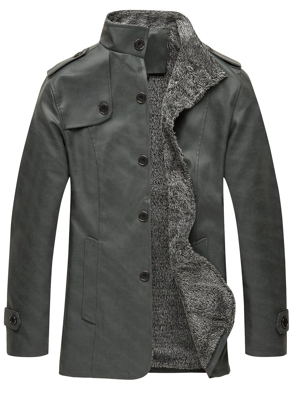 Stand Collar Single Breasted Epaulet Design Coat - DARK GRAY M