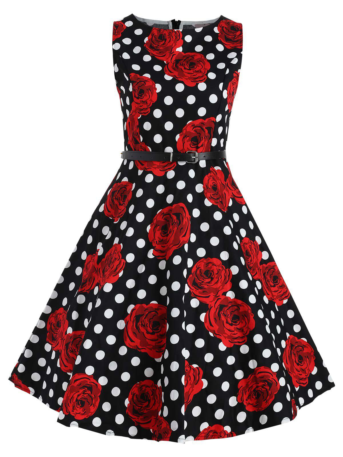 Flower and Polka Dot Print Vintage Dress - multicolor M