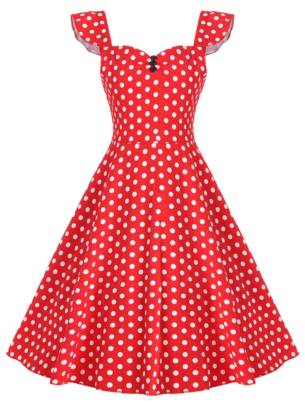 Vintage Button Polka Dot Print Dress - RED S