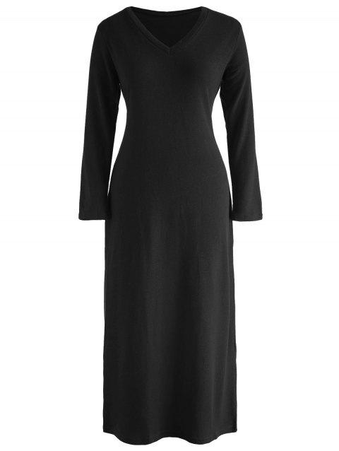 V Neck Maxi Knitwear Dress - BLACK L