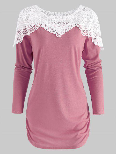 37100f2017e242 17% OFF] 2019 Sheer Lace Insert Curved T Shirt In LIPSTICK PINK M ...
