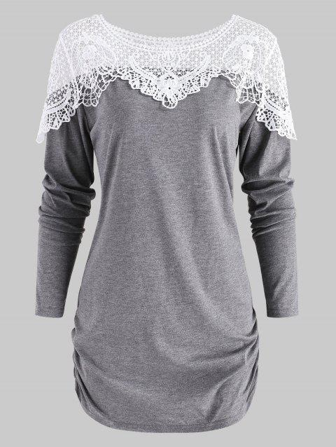 63e1147282 17% OFF  2019 Sheer Lace Insert Curved T Shirt In GRAY CLOUD S ...