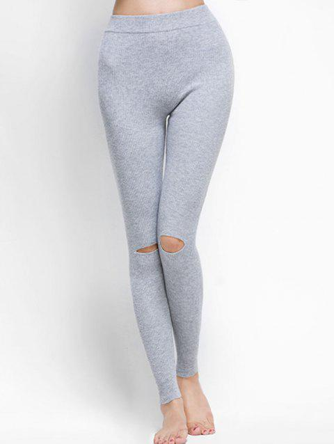 Broken Hole Ribbed Leggings - LIGHT GRAY ONE SIZE