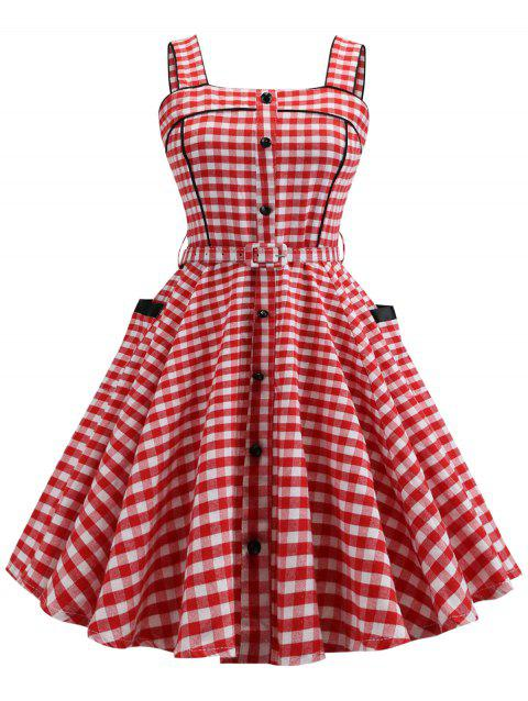 Front Pockets Button Checked A Line Dress - RED XL
