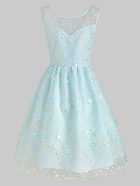 Mesh Embroidery Floral A Line Dress - LIGHT BLUE 2XL