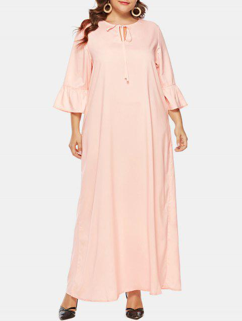 Plus Size Tie Collar Maxi Dress - PINK 1X