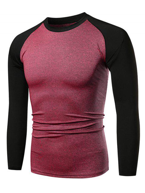 Contract Color Raglan Sleeve Long Sleeve Tee - CHERRY RED XL
