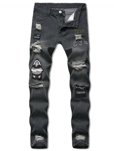 Cartoon Embroidered Design Distressed Jeans - BLACK M