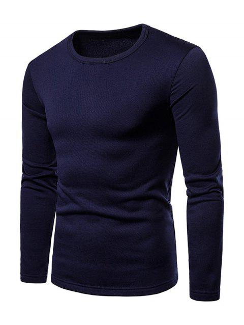 Basic Solid Color Fleece T-shirt - DARK SLATE BLUE L