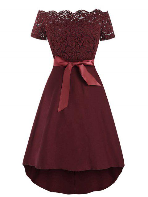 Off The Shoulder Lace Insert Vintage Dress - RED WINE M