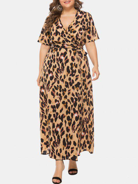 Plus Size Leopard Print Wrap Maxi Dress - CAMEL BROWN 5X
