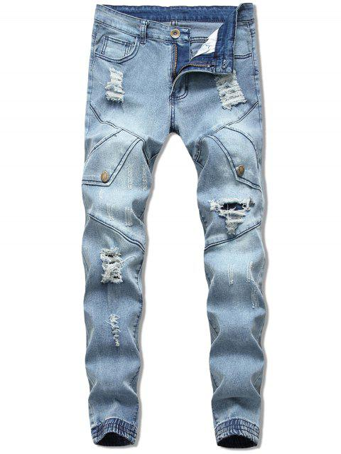 Button Embellish Destroyed Jeans - LIGHT BLUE 38