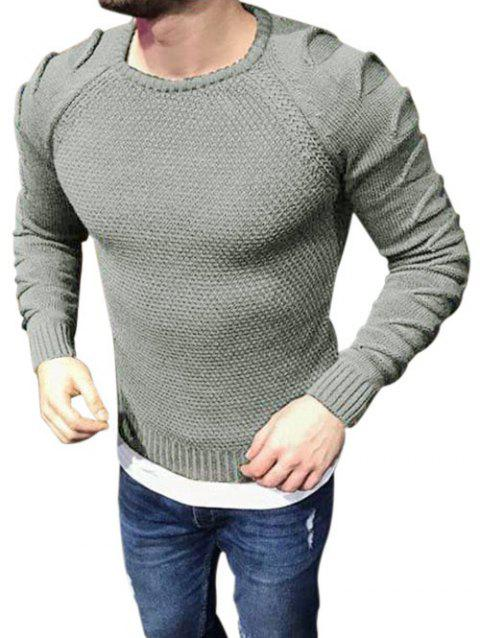 Raglan Sleeves Pullover Ripped Sweater - GRAY GOOSE L