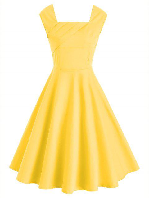 Ruched Sleeveless Vintage Dres - YELLOW L